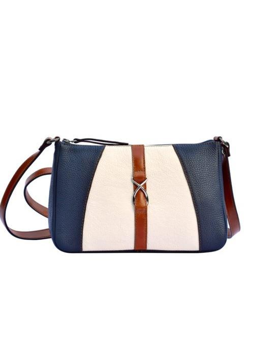 Женская кожаная сумка-клатч ACTIVE ISSA HARA бело-синяя