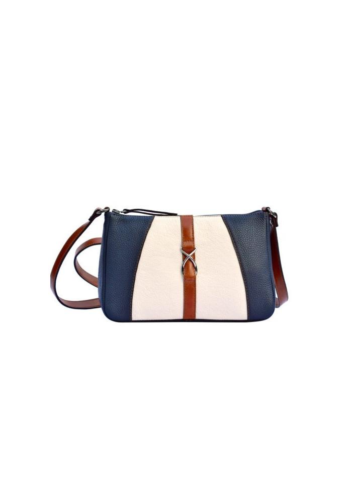 Фото Женская кожаная сумка-клатч ACTIVE ISSA HARA бело-синяя