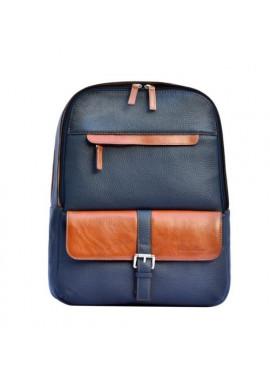 Фото Брендовый рюкзак кожаный ISSA HARA синий с рыжими вставками