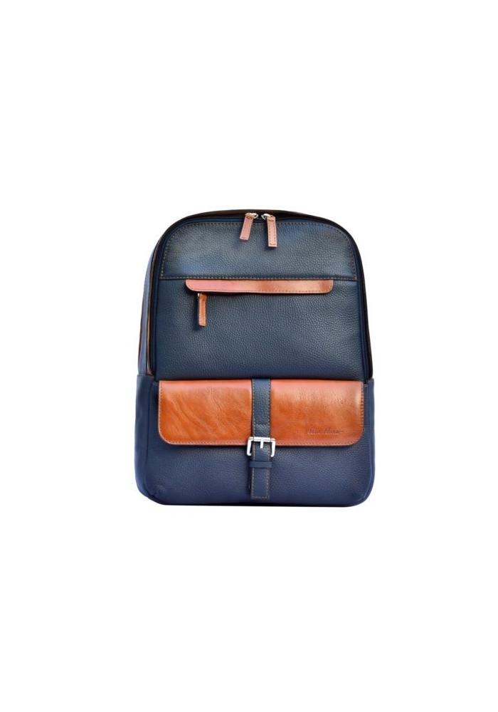 Брендовый рюкзак кожаный ISSA HARA синий с рыжими вставками
