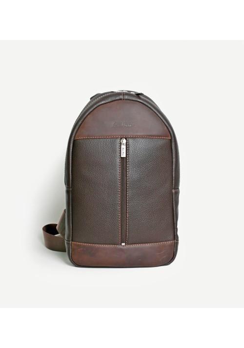 Брендовый рюкзак кожаный через плечо ISSA HARA коричневый матовый