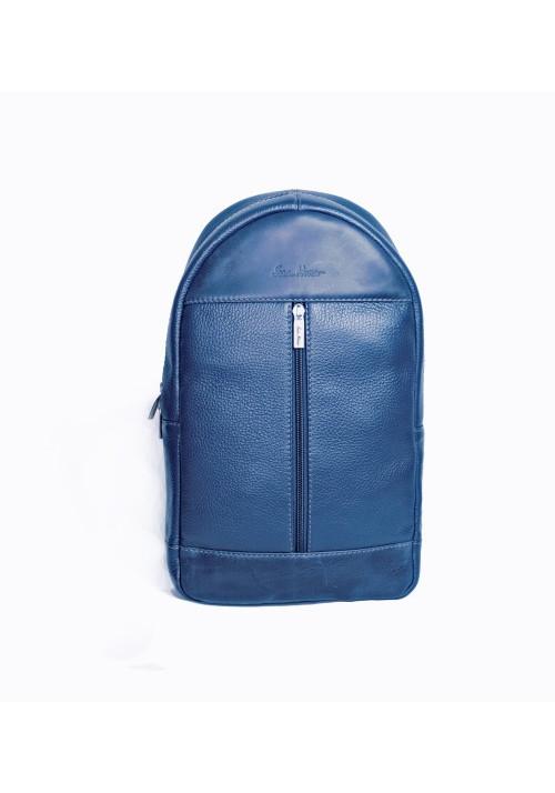 Брендовый рюкзак кожаный через плечо ISSA HARA синий