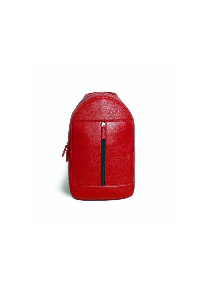 Брендовый рюкзак кожаный через плечо ISSA HARA красный