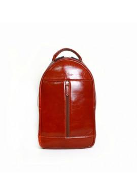 Фото Брендовый рюкзак кожаный через плечо ISSA HARA коричневый лаковый