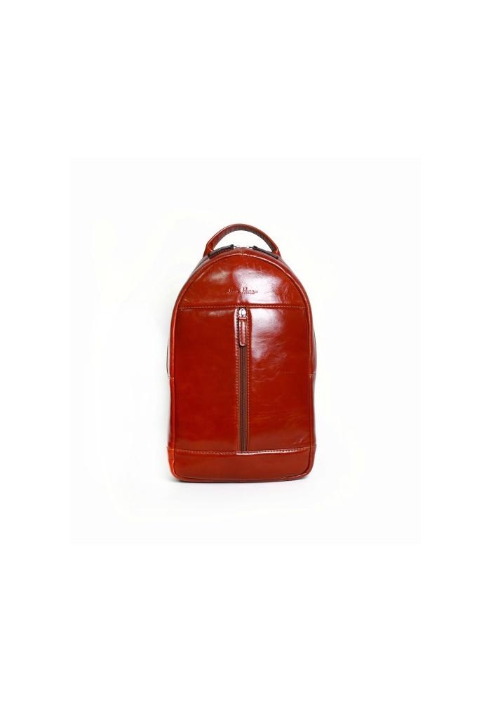 Брендовый рюкзак кожаный через плечо ISSA HARA коричневый лаковый