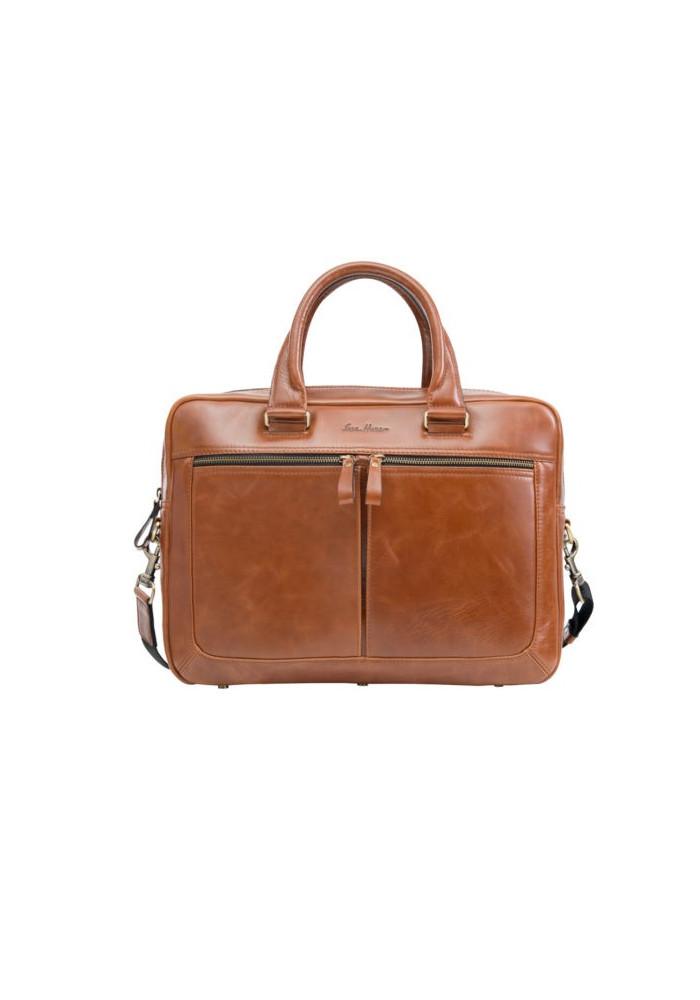 Стильная мужская кожаная сумка ISSA HARA рыжая