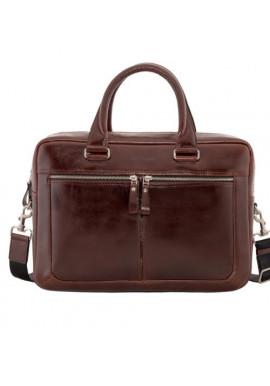 Фото Стильная мужская кожаная сумка ISSA HARA коричневая