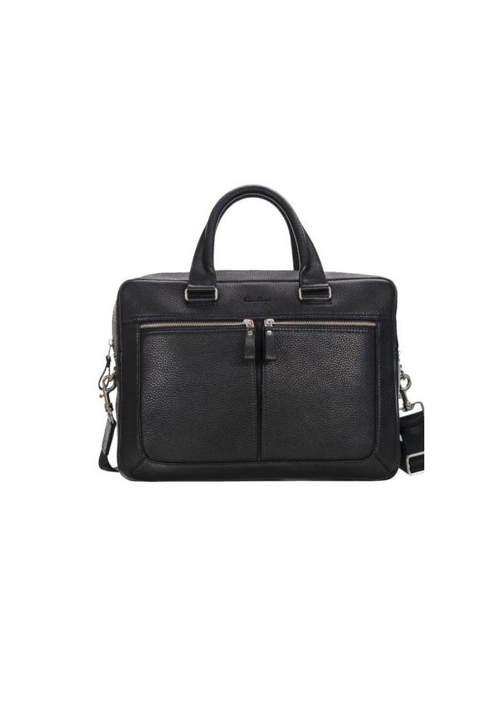 Стильная мужская кожаная сумка ISSA HARA черная