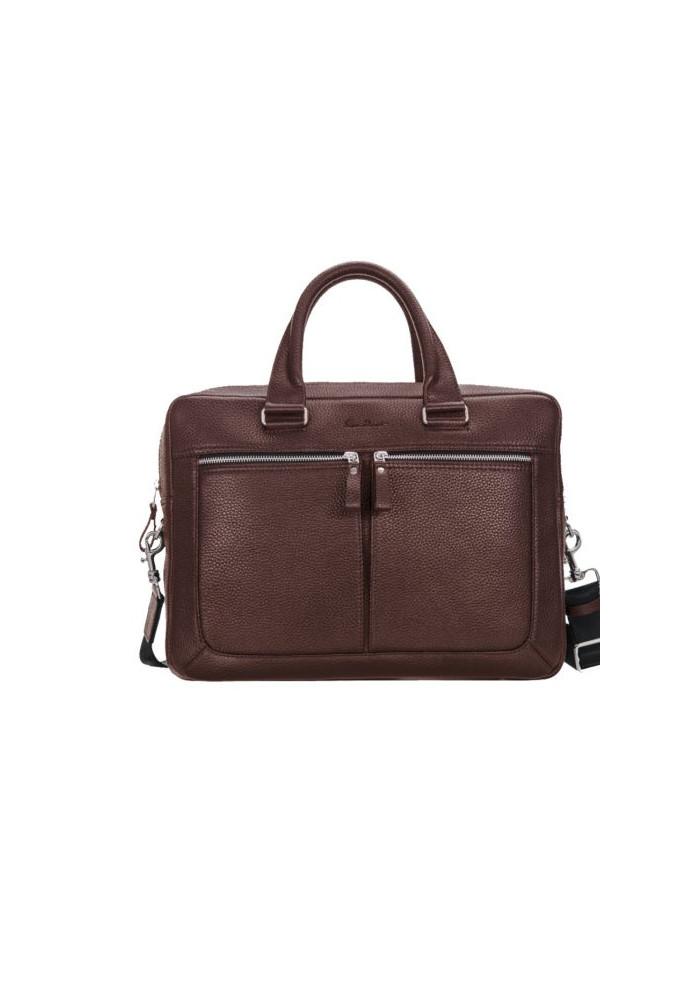 Стильная мужская кожаная сумка ISSA HARA коричневая матовая
