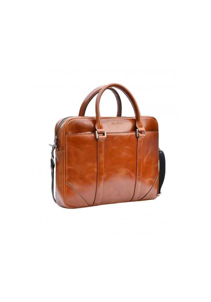 Натуральная кожаная сумка мужская ISSA HARA рыжая