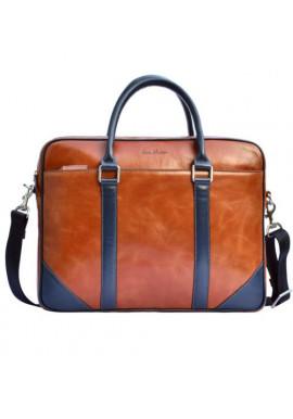 Фото Натуральная кожаная сумка мужская ISSA HARA рыжая с синими вставками