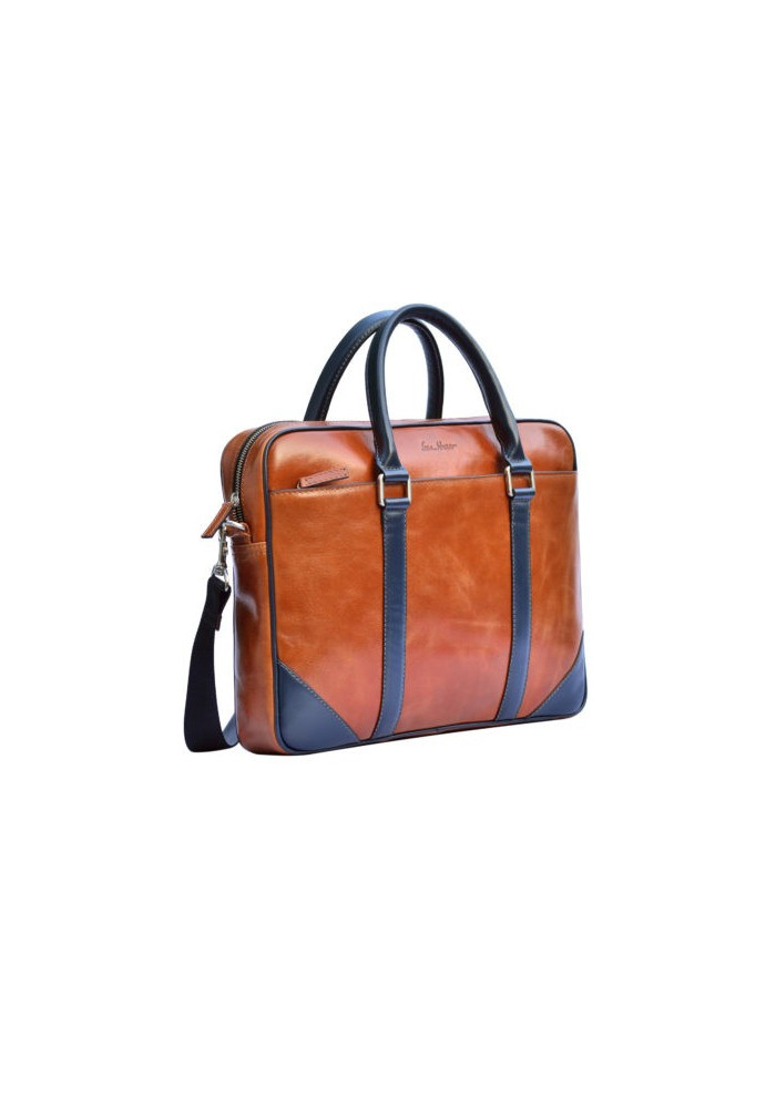 Натуральная кожаная сумка мужская ISSA HARA рыжая с синими вставками