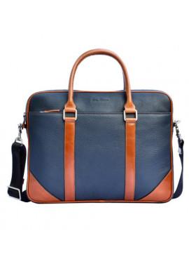 Фото Натуральная кожаная сумка мужская ISSA HARA синяя с рыжими вставками