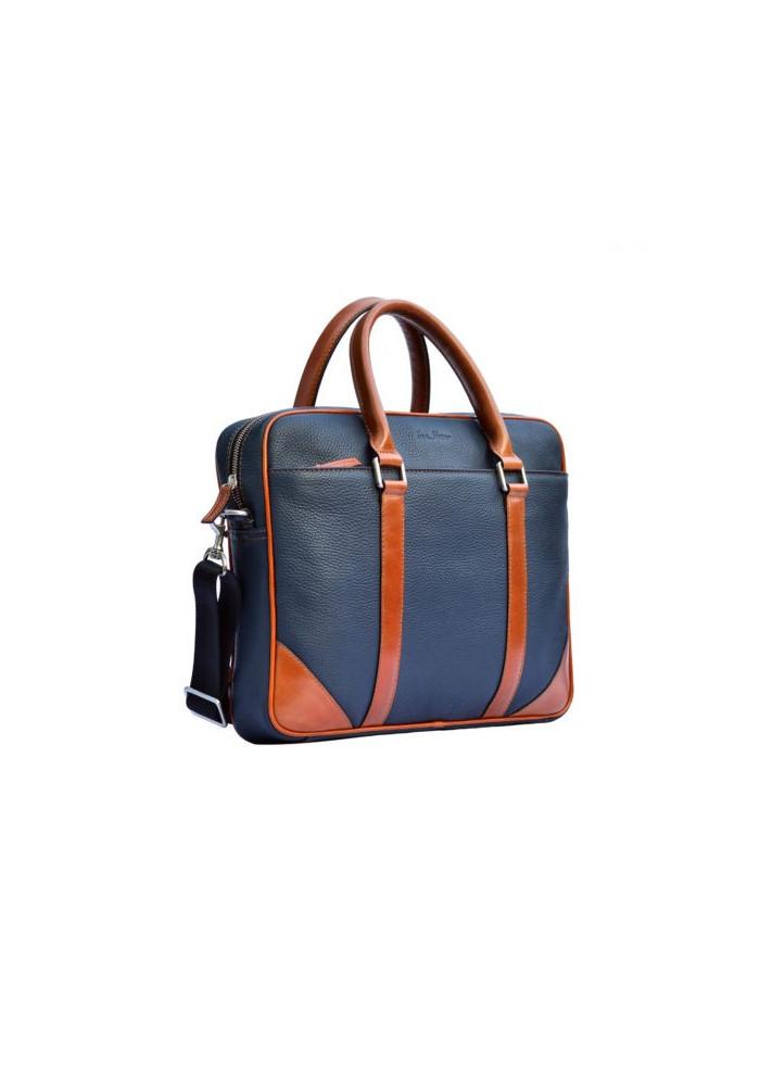 Натуральная кожаная сумка мужская ISSA HARA синяя с рыжими вставками