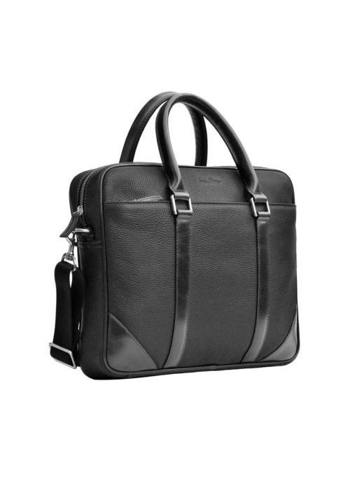 Натуральная кожаная сумка мужская ISSA HARA черная
