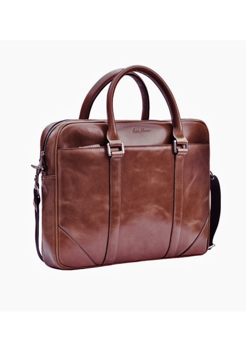 Натуральная кожаная сумка мужская ISSA HARA коричневая