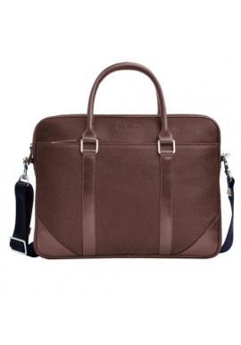 Фото Натуральная кожаная сумка мужская ISSA HARA коричневая матовая