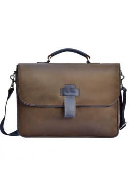 Фото Фирменная мужская сумка ISSA HARA коричневая с синими вставками