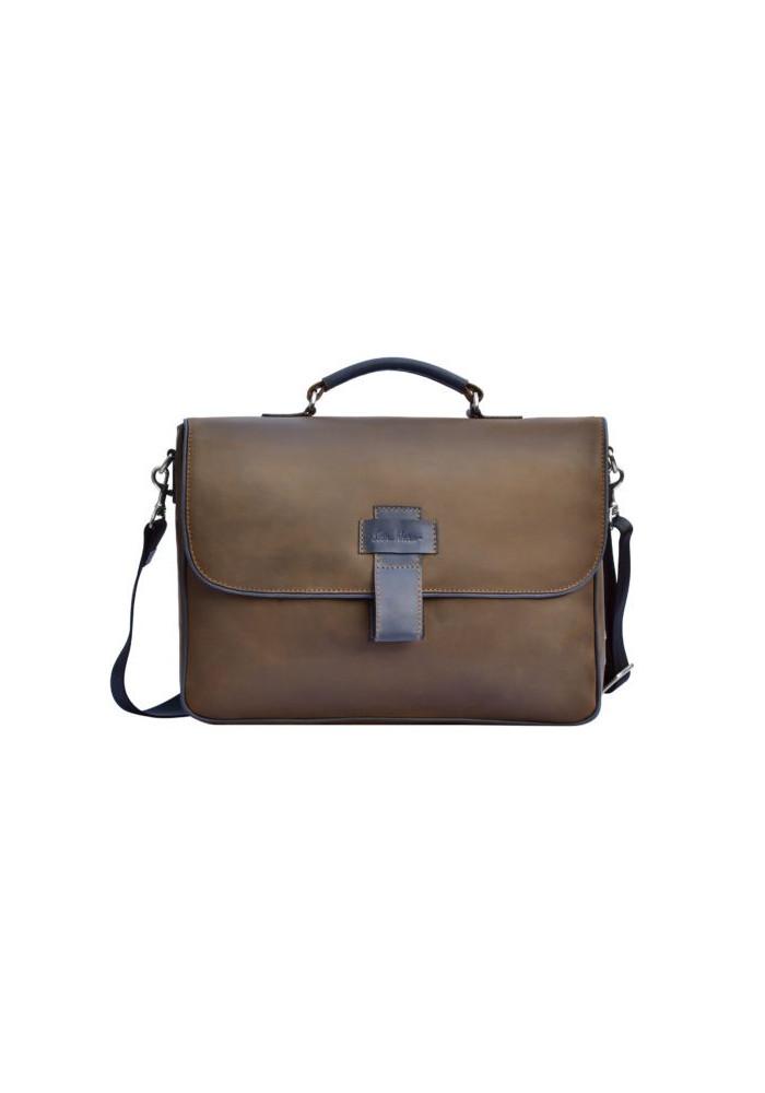 Фирменная мужская сумка ISSA HARA коричневая с синими вставками