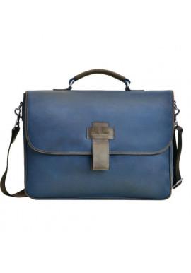 Фото Фирменная мужская сумка ISSA HARA синяя с коричневыми вставками