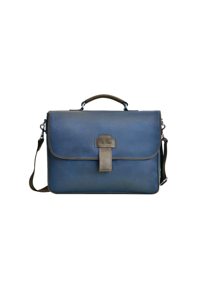 Фирменная мужская сумка ISSA HARA синяя с коричневыми вставками