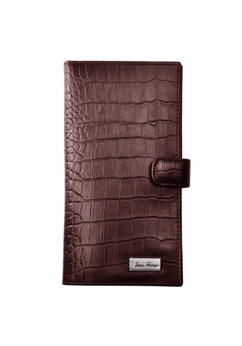 Мужской кошелек для денег ISSA HARA коричневая рептилия
