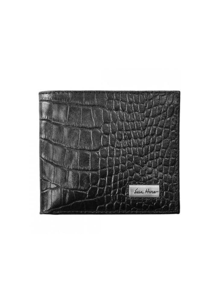 Мужской кошелек брендовый ISSA HARA черная рептилия