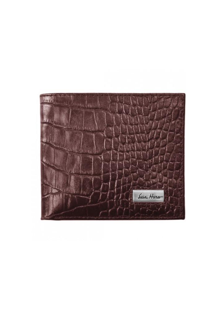 Мужской кошелек брендовый ISSA HARA коричневая рептилия