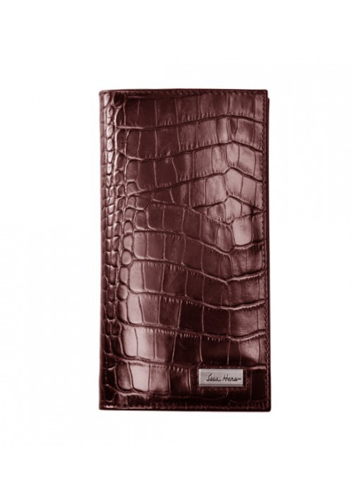 Мужской кошелек кожаный ISSA HARA коричневая рептилия