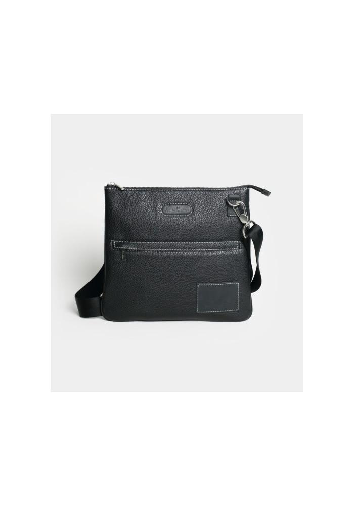 Мужская кожаная сумка через плечо ISSA HARA черная