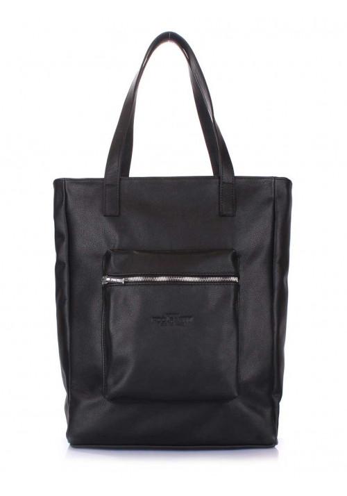 Кожаная сумка женская брендовая Poolparty Spirit Black