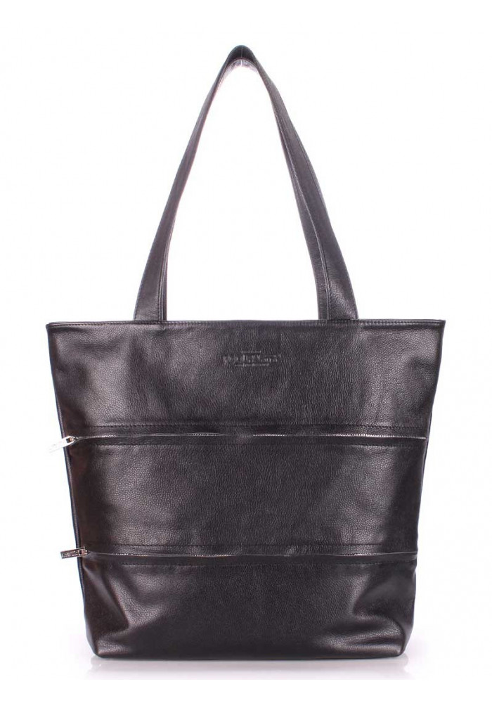Кожаная сумка женская брендовая Poolparty Choice Black