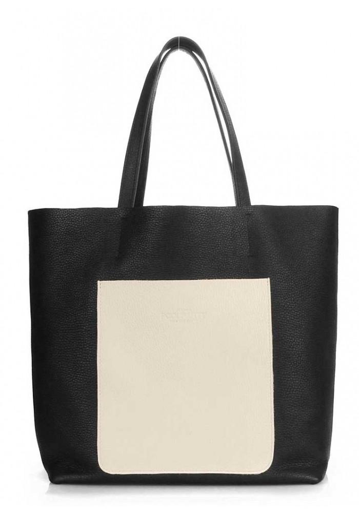 Кожаная сумка женская брендовая Poolparty Mania Black Beige