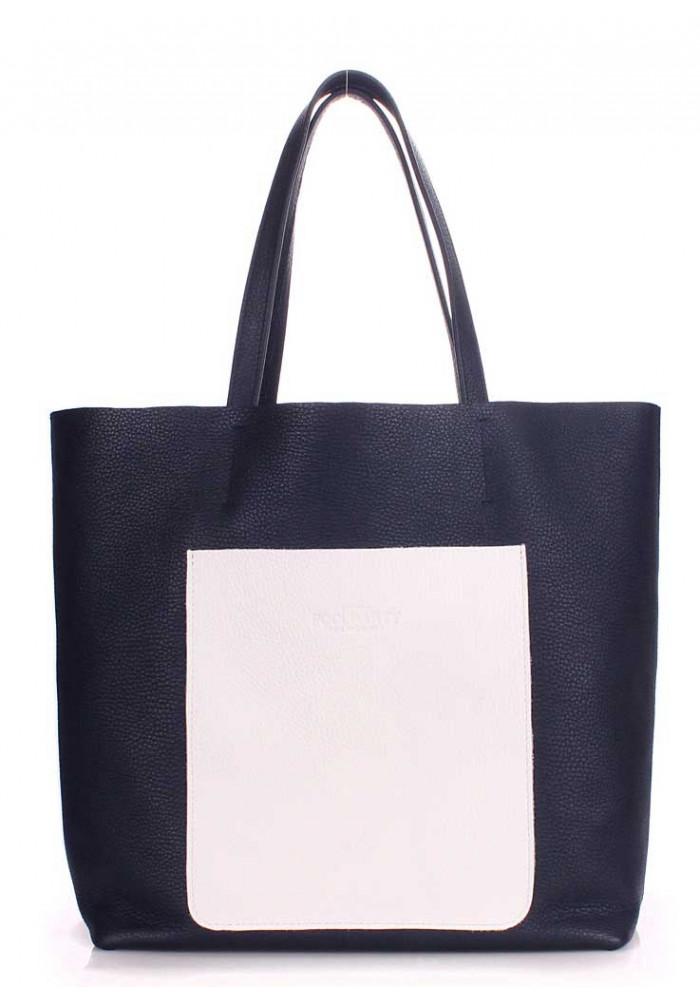 Кожаная сумка женская брендовая Poolparty Mania Darkblue White