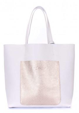 Фото Кожаная сумка женская брендовая Poolparty Mania White Gold