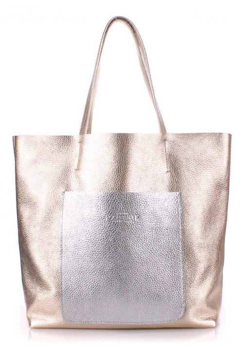 Кожаная сумка женская брендовая Poolparty Mania Golden Silver