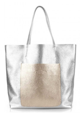 Фото Кожаная сумка женская брендовая Poolparty Mania Silver Golden