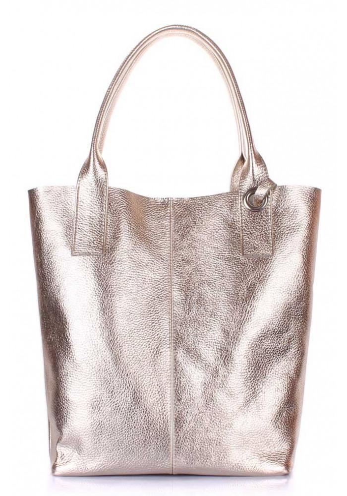 Женская кожаная сумка Poolparty Podium Gold