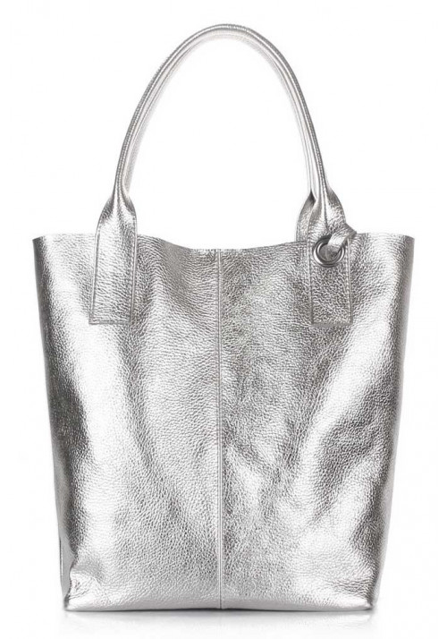 Женская кожаная сумка Poolparty Podium Silver
