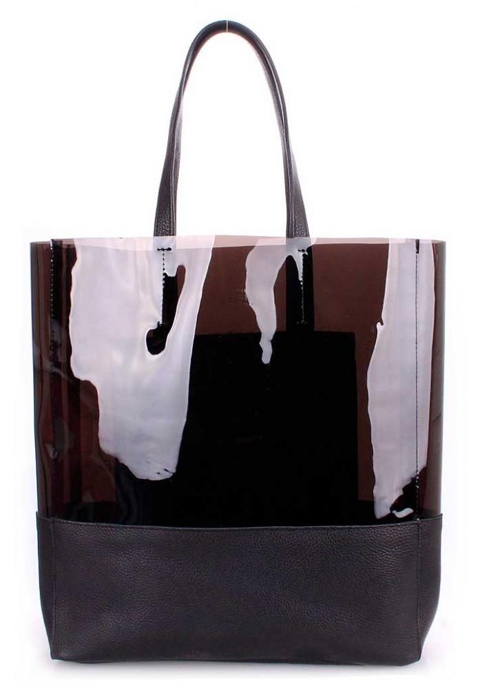 Женская кожаная сумка Poolparty City Carrie Black