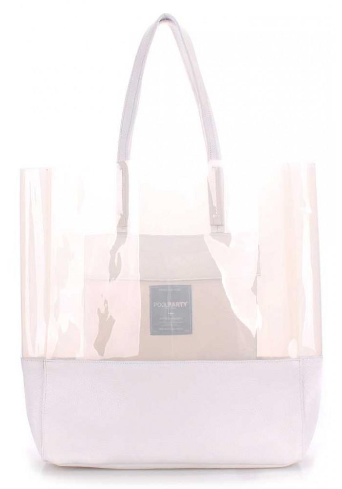 Женская кожаная сумка Poolparty City Carrie White