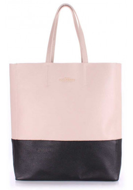 Фото Женская кожаная сумка Poolparty City Beige Black