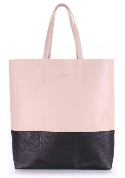 Женская кожаная сумка Poolparty City Beige Black