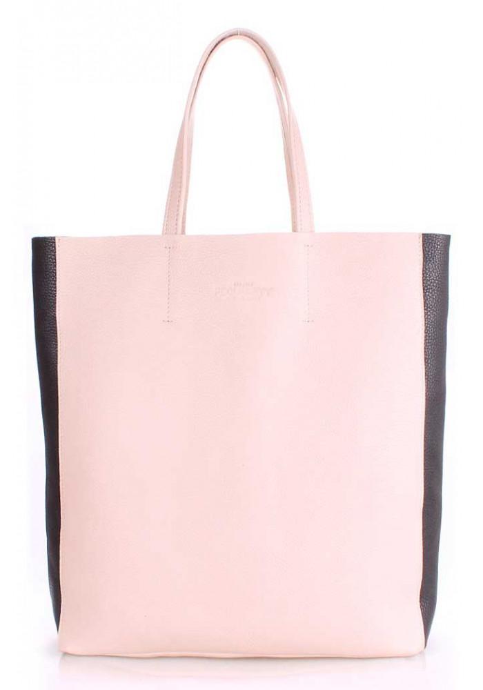 Женская кожаная сумка Poolparty City-2 Beige Black