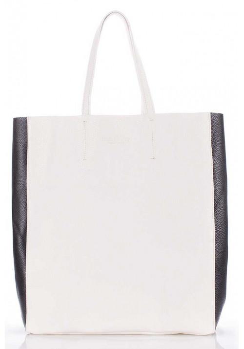 Женская кожаная сумка Poolparty City-2 White Black