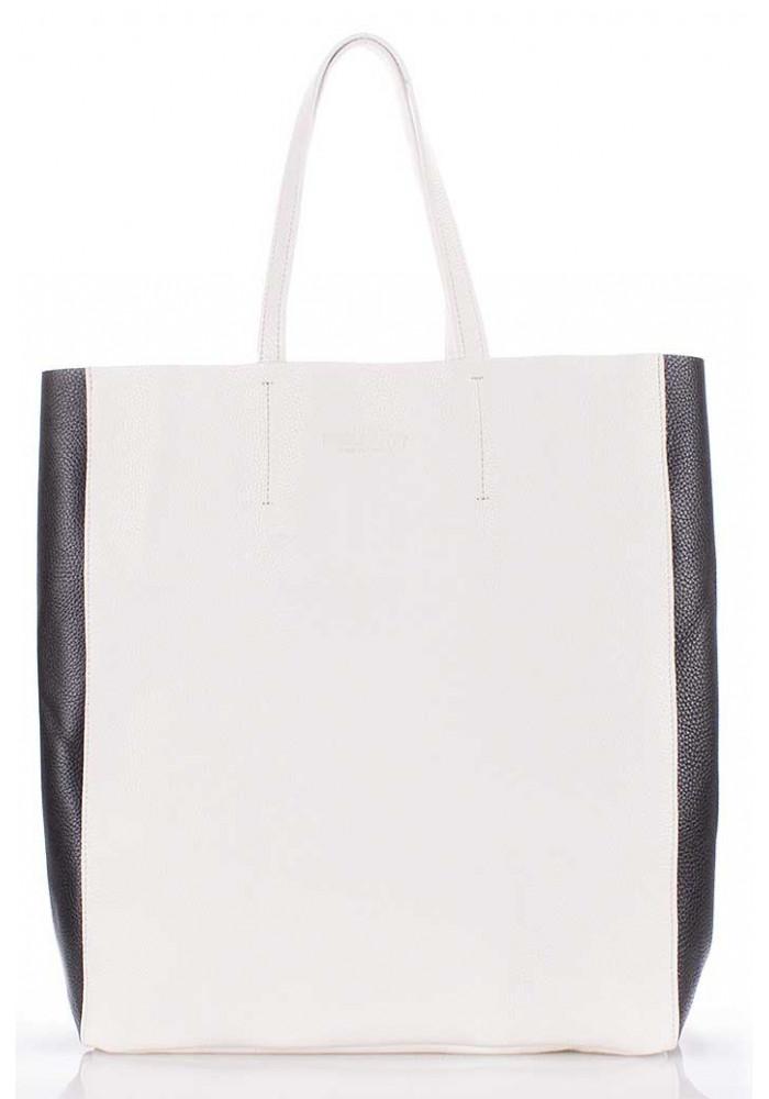 Фото Женская кожаная сумка Poolparty City-2 White Black