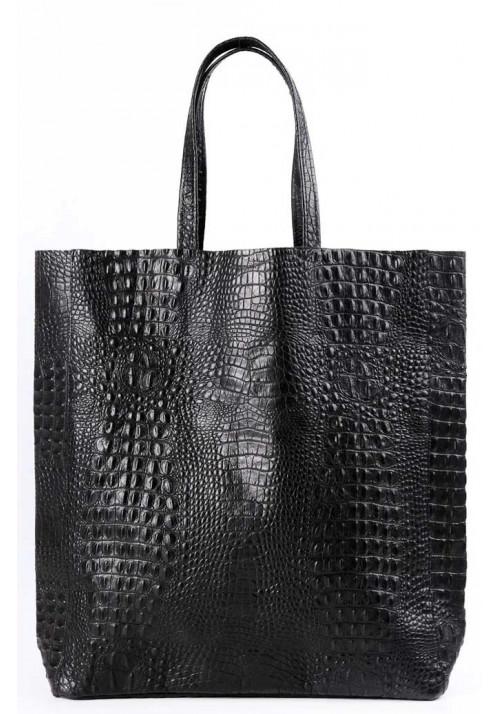Женская кожаная сумка Poolparty Leather City Croco Black