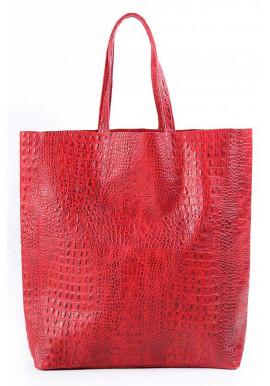 Фото Женская кожаная сумка Poolparty Leather City Croco Red