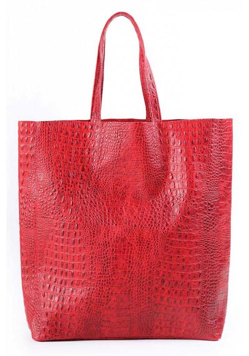 Женская кожаная сумка Poolparty Leather City Croco Red