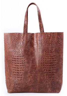 Фото Женская кожаная сумка Poolparty Leather City Croco Brown